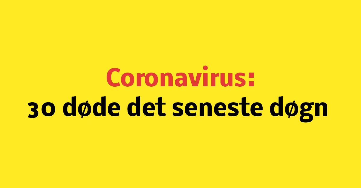 Coronavirus: 30 døde det seneste døgn