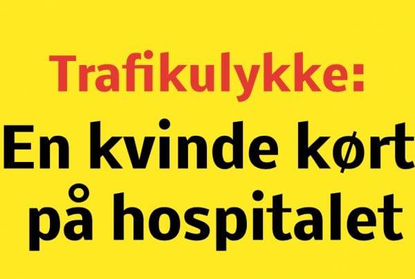 Trafikulykke: En kørt på hospitalet